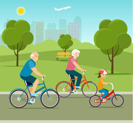 Grandfather, grandmother and granddaughter riding a bicycle in park. Vector flat style illustration