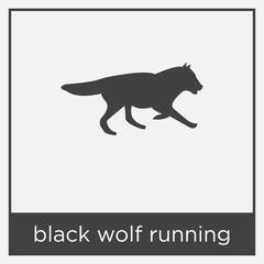 black wolf running icon isolated on white background