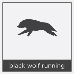 black wolf running icon isolated on white background