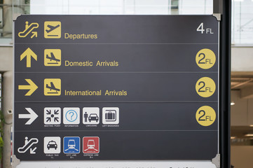 Departure, arrivals and transport guide board sign at international airport