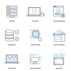 Cloud computing and data storage vector icons set, outline style