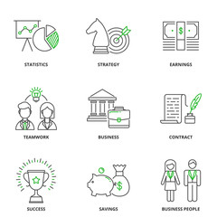 Business and finance vector icons set, outline style