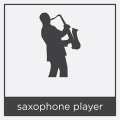 saxophone player icon isolated on white background