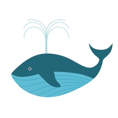 Color image of a blue whale in a cardboard style on a white background isolated animal vector  illustration