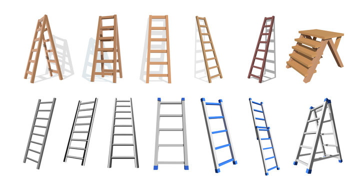 Set of wooden and metall stairs. Wooden, metall  staircase on a white background. Vector ladders illustration