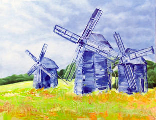 Windmills of happiness oil canvas