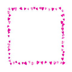 Mother's day background with pink glitter confetti. Isolated heart symbol in rose color. Postcard for mother's day. Love theme for flyer, special business offer, promo. Women holiday template