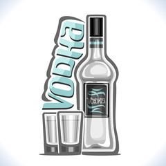Vector illustration of alcohol drink Vodka, poster with transparent bottle of premium russian booze and 2 full shot glasses, original typeface for blue word vodka, design composition for bar menu.