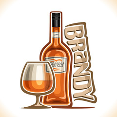 Vector illustration of alcohol drink Brandy, poster with brown bottle of premium fruit calvados and half full snifter glass, original typeface for word brandy, design contour composition for bar menu.