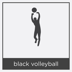 black volleyball icon isolated on white background