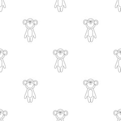 Seamless pattern of cartoon outline monkey