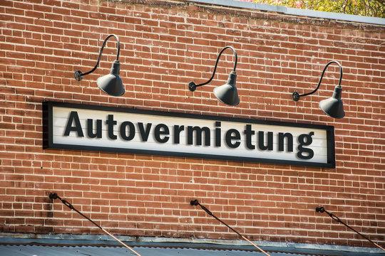 Schild 261 - Autovermietung