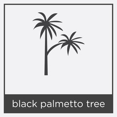 black palmetto tree icon isolated on white background