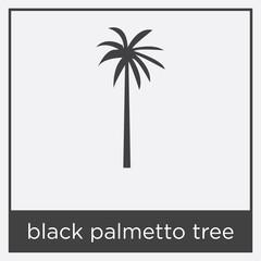 black palmetto tree icon isolated on white background