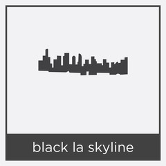 black la skyline icon isolated on white background