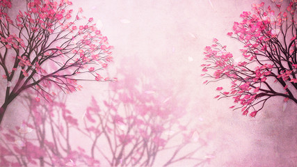 Wall Mural - Beautiful oriental blossom background. 3d rendering picture.