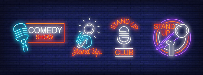 Stand up comedy show neon signs collection. Neon sign, night bright advertisement, colorful signboard, light banner. Vector illustration in neon style. Wall mural