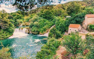 Krka waterfalls, croatian national park, old filter