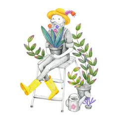 happy gardener with flowers