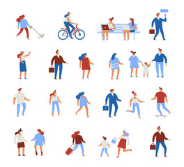 Different people characters. Flat vector illustration isolated on white.