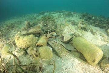 Plastic water bottles pollute sea floor