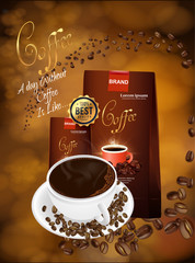 nice and beautiful abstract or poster for Coffee Product Presentation with nice and creative design illustration.