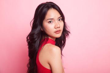 Portrait of beautiful young Asian woman.