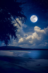 Fototapete - Landscape of sky with full moon on seascape to night. Serenity nature background.