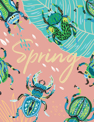 Spring greeting card with decorative beetles. Vector illustration