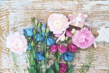 Blumenstrauß Shabby Chic - Grußkarte Nostalgie