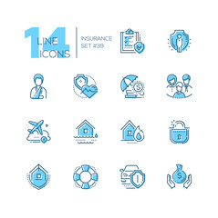 Insurance - set of line design style icons