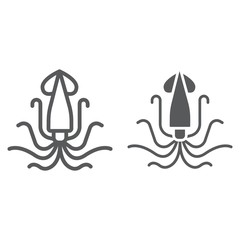 Squid line and glyph icon, animal