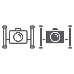 Underwater camera line and glyph icon