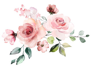 decorative watercolor flowers. floral illustration, Leaf and buds. Botanic composition for wedding or greeting card.  branch of flowers - abstraction roses, romantic