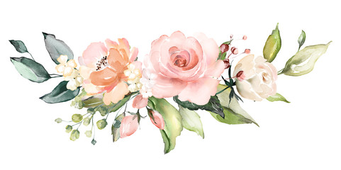watercolor flowers. floral illustration, Leaf and buds. Botanic composition for wedding or greeting card.  branch of flowers - abstraction roses