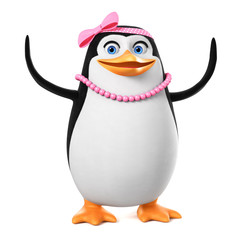 Cheerful penguin girl in pink beads with raised wings up isolated on white background.