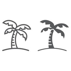 Palm tree line and glyph icon, travel