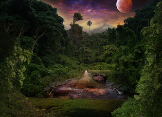 A tropical night in the jungle. Lotus, heron, hippopotamus and lizard in a shallow river