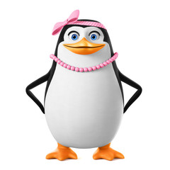 Cheerful penguin girl in pink beads isolated on white background. 3d render illustration.