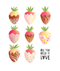 Strawberries in chocolate, all you need is love