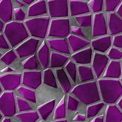 cobble stones irregular mosaic pattern texture seamless background - pavement purple violet colored pieces on gray concrete ground
