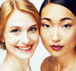 three different nation woman: asian, african-american, caucasian