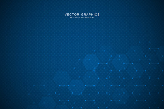 Technology background with hexagons. Molecular structure and chemical compounds.