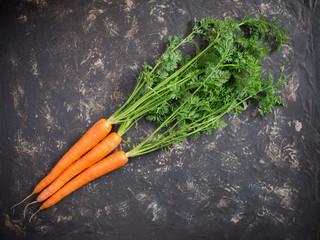 fresh carrots on rustic stone background. Top View