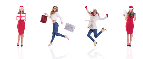Composite image of different festive blondes on white background