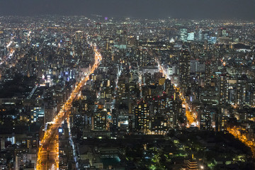 高層ビルから撮影した夜の大阪