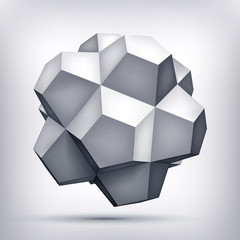 Volume polyhedron gray star, 3d object, geometry shape, mesh version, abstract vector element for you design project