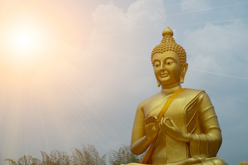 Buddha statue at Nakhon Nayok Thailand. for add text copy space
