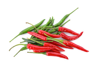 red and green chili pepper isolated on a white background