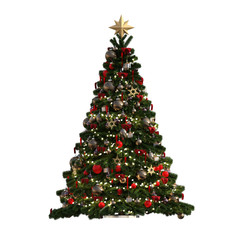 Christmas Tree isolated on white, 3d render.